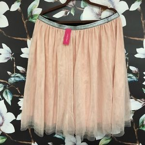 Pink tulle/flowly skirt with silver elastic band.